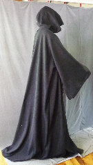 "Robe:R257, Robe Style:Sith or Holocaust Style Cloak, Robe Color:Black, Front/Collar:Hooded with Black cloth-covered hook and eye, Fiber:Economy Polyester Fleece, Neck:26"", Sleeve:38"", Chest:80"", Length:75"", Height:Up to 7' 3""."
