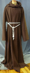 "Robe:R258, Robe Style:Monk's Robe with attached hooded cowl, Robe Color:Brown, Fiber:Corded Wool 80%/20%, Neck:28"", Sleeve:40"", Chest:64"", Length:63"", Height:Up to 6' 3"", Note:Rope Belt is included. Dry Clean Only.."