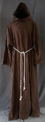 Robe:R260, Robe Style:Monk&#039;s Robe with attached hooded cowl, Robe Color:Brown, Fiber:100% Linen, Neck:30&quot;, Sleeve:35&quot;, Chest:66&quot;, Length:64&quot;, Height:Up to 6&#039; 4&quot;, Note:A fun garment made of lightweight<br>chocolate brown linen that is strong,<br>allows moisture to evaporate with speed,<br>and breathe well.<br>The rope belt is included<br>with the option of a leather belt for an added $44<br>Machine washable cold gentle, tumble dry low..