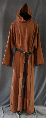 Robe:R261, Robe Style:Monk&#039;s Robe with attached hooded cowl, Robe Color:Golden Brown/Caramel, Fiber:100% Linen, Neck:28&quot;, Sleeve:37&quot;, Chest:70&quot;, Length:62&quot;, Height:Up to 6&#039; 2&quot;, Note:A fun garment made of lightweight<br>golden brown linen that is strong,<br>allows moisture to evaporate with speed,<br>and breathe well.<br>The rope belt is included<br>with the option of a leather belt for an added $44<br>Machine washable cold gentle, tumble dry low..