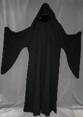 Robe:R262, Robe Style:Emperor Palpatine style Robe or Holocaust Style Cloak, Robe Color:Black, Front/Collar:Hooded with Black cloth-covered hook and eye, Fiber:100% Light Weight Wool, Neck:25&quot;, Sleeve:40&quot;, Chest:78&quot;, Length:66&quot;, Height:Up to 6&#039; 6&quot;, Note:Light weight with cording in the hood<br>and adjustable ruch on the sleeves.<br>Machine washable cold gentle,<br>tumble dry low..