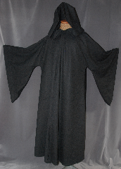 Robe:R263, Robe Style:Gandalf the Grey/ Distressed Travelers Robe or Holocaust Style Cloak, Robe Color:Slate Grey, Fiber:100% Light Weight Wool, Neck:21.5&quot;, Sleeve:36&quot;, Chest:55&quot;, Length:59&quot;, Height:Up to 5&#039; 11&quot;, Note:Light weight with distressed patches<br>and a lirepipe hood.<br>Dry Clean Only.