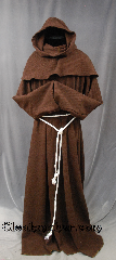 Robe:R390, Robe Style:Monk&#039;s Robe with Detached cowl, Robe Color:Brown, Fiber:Wool Twill, Sleeve:38&quot;, Chest:up to 60&quot;, Length:65&quot;, Height:Up to 6&#039;4&quot;, Note:Lightweight and easy care, in a<br>breathable loose twill brown wool,<br>a great piece of spring monk outerwear.<br>With a detachable hood, coin pouch<br>and rope belt makes a great accessory<br>for everyday wear, religious ceremony,<br>LARP or Renaissance Fair.<br>The Robe is machine washable!.