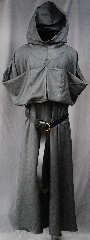 Robe:R266, Robe Style:Franciscan Grey Friar&#039;s Habit, Robe Color:Grey, Front/Collar:Robe with attached hooded cowl, Fiber:Very Fine Wool Suiting, Neck:28&quot;, Sleeve:30&quot;, Chest:Up to 46&quot;, Length:56.5&quot;, Height:Up to 5&#039; 9.5&quot;, Note:This garment made is of lightweight<br>Grey Very Fine wool Suiting.<br>Versatile as a monk or Plague Dr<br>The rope belt is included<br>with the option of a leather belt<br>for an added $44<br>Hand wash cold, line dry<br><br>NOTE: Marked down because there are<br>3 tiny darned holes on forearm of left sleeve..