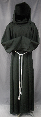 Robe:R267, Robe Style:Monk or Plague Dr, Robe Color:Green almost Black, Front/Collar:Robe with attached hooded cowl, Fiber:Very Fine mixed Wool Suiting, Neck:24&quot;, Sleeve:37&quot;, Chest:up to 48&quot;, Length:60&quot;, Height:Up to 6&#039;, Note:This garment is made of lightweight<br>Green almost Black Very Fine wool Suiting.<br>Versatile as a monk or Plague Dr<br>The rope belt is included<br>with the option of a leather belt<br>for an added $44<br>Hand wash cold, line dry.