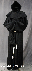 Robe:R268, Robe Style:Monk, Robe Color:Black, Front/Collar:Monk&#039;s Robe with Detached pointed hooded cowl, Fiber:100 % Wool, Neck:28&quot;, Sleeve:37&quot;, Chest:60&quot;, Length:64&quot;, Height:Up to 6&#039; 4&quot;, Note:A fun garment made of lightweight<br>Black wool with Detached cowl and pouch<br>The rope belt is included<br>with the option of a leather belt<br>for an added $44<br>Machine washable cold gentle, tumble dry low..