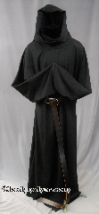 Robe:R270, Robe Style:Monk or Plague Dr, Robe Color:Black, Front/Collar:Robe with attached hooded cowl, Fiber:Very Fine Wool Suiting, Neck:28&quot;, Sleeve:33&quot;, Chest:58&quot;, Length:60&quot;, Height:Up to 6&#039;, Note:This garment is made of lightweight<br>Very Fine wool Suiting.<br>Versatile as a monk or Plague Dr<br>The rope belt is included<br>with the option of a leather belt<br>for an added $44<br>Hand wash cold, line dry.