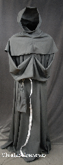 Robe:R274, Robe Style:Monk&#039;s Robe with detached hooded cowl and pouch, Robe Color:Grey, Front/Collar:Round neck, Fiber:Wool / Polyester blend, Neck:28&quot;, Sleeve:39&quot;, Chest:60&quot;, Length:62&quot;, Height:Up to 6&#039; 2&quot;, Note:A fun garment made of lightweight Grey wool Suiting.<br> Comes with rope belt seen in other pictures<br>with the option of a leather belt for an added $44.<br> Machine Washable.