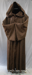 Robe:R276, Robe Style:Qui Gon Robe Robe, Robe Color:Brown, Front/Collar:Hooded with Brown cloth-covered hook and eye, Approx. Size:M to XL, Fiber:80% Wool/20% Nylon, Neck:23&quot;, Sleeve:35&quot;, Chest:56&quot;, Length:58&quot;, Height:Up to 5&#039; 10&quot;, Note:Medium weight with pointed sleeves.<br>Can be converted to Anakin as well.<br>Dry Clean Only.