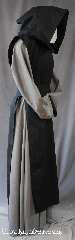 Robe:R278, Robe Style:Monk Scapular hooded, Robe Color:Black, Fiber:Wool Gabardine, Sleeve:N/A, Chest:N/A, Note:Originated as aprons worn by<br>medieval monks, and were later<br>incorporated to official habits ceremonies.<br>Also adds an extra interest<br>to a period grab.<br>Dry clean only<br>Shown with R275 (sold separately).