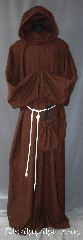 Robe:R284, Robe Style:Monks Robe with Attached cowl and pouch, Robe Color:Russet Brown, Fiber:80% 20% Wool Nylon, Neck:23&quot;, Sleeve:31&quot;, Chest:66&quot;, Length:64&quot;, Height:Up to 6&#039; 4&quot;, Note:This russet wool blend robe<br>has a woven texture reminiscent<br>of medieval times.<br>The attached hood and the matching<br>coin pouch and rope belt is included<br>with the option of a leather belt<br>for an added $44.<br>It can be warn as a complete outfit<br>with no extra pieces needed.<br>Perfect for outdoor events.<br>Dry Clean Only..