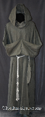Robe:R285, Robe Style:Monks Robe with Attached cowl and pouch, Robe Color:Grey, Fiber:100% Linen, Neck:22&quot;, Sleeve:40&quot;, Chest:64&quot;, Length:60&quot;, Height:Up to 6&#039;, Note:A light weight grey monks robe<br>made of breathable linen.<br>Cuff is finished and can be folded up<br>without showing raw edges.<br>Can be hemmed to desired length.<br>Rope belt included, leather belt<br>option available for extra $45.<br>Machine washable..