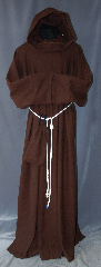 Robe:R288, Robe Style:Monks Robe with Attached cowl and pouch, Robe Color:Russet Brown, Fiber:80% 20% Wool Nylon, Neck:24&quot;, Sleeve:35&quot;, Chest:76&quot;, Length:60&quot;, Height:Up to 6&#039;, Note:This russet wool blend robe<br>has a woven texture reminiscent<br>of medieval times.<br>The attached hood and the matching<br>coin pouch and rope belt is included<br>with the option of a leather belt<br>for an added $44.<br>It can be warn as a complete outfit<br>with no extra pieces needed.<br>Perfect for outdoor events.<br>Dry Clean Only..