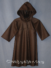 Robe:R290, Robe Style:Little Jedi, Robe Color:Brown, Front/Collar:Hooded with snap clasp, Fiber:80% 20% Wool Nylon, Neck:16&quot;, Sleeve:17&quot;, Chest:Up to 28&quot;, Length:26&quot;, Note:Sized for young padawans<br>this light weight wool robe is<br>perfect for play and warmth.<br>With a snap clasp and hood you won&#039;t<br>have to argue with them to put<br>it on for cool evenings.<br>Dry clean only.
