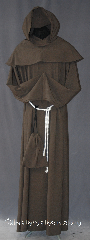 Robe:R291, Robe Style:Monks Robe with Detached cowl and pouch, Robe Color:Cocoa Brown, Front/Collar:Round neck, Fiber:100 % Light Weight Wool, Sleeve:37&quot;, Chest:58&quot;, Length:62&quot;, Height:Up to 6&#039; 2&quot;, Note:A light weight cocoa monks robe<br>made of a lightweight wool suiting.<br>Can be hemmed to desired length.<br>Perfect for summer or indoor events.<br>Rope belt included with the option<br>of a leather belt for extra $45.<br>Dry clean only..