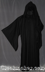 Robe:R293, Robe Style:Sith or Holocaust Style Cloak, Robe Color:Black, Front/Collar:Hooded with Black cloth-covered hook and eye, Fiber:80% Wool 20% Cashmere, Neck:27.5&quot;, Sleeve:37&quot;, Chest:72&quot;, Length:65&quot;, Height:Up to 6&#039; 5&quot;. Can be shortened, Note:With a large hood and wide pointed sleeves<br>this robe has a dramatic presence for<br>members of the dark and light<br>side of the force.<br>Dry Clean only..