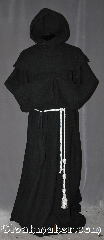 Robe:R294, Robe Style:Monks Robe with Detached cowl and pouch, Robe Color:Black, Front/Collar:Round neck, Fiber:Midweight basket-weave 100% Wool, Neck:28&quot;, Sleeve:36&quot;, Chest:54&quot;, Length:65&quot;, Height:Up to 6&#039; 5&quot;. Can be shortened, Note:A mid weight black woven<br>monks robe made of a 100%<br>rustic looking wool is perfect for<br>cooler indoor and outdoor events.<br>The detached hood is reversible<br>for ease of use and can<br>be hemmed to desired length.<br>Rope belt included with the option<br>of a leather belt for extra $45.<br>Dry clean only..