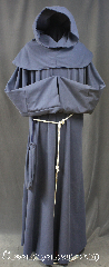 Robe:R298, Robe Style:Monks Robe with Detached cowl and pouch, Robe Color:Steel Grey, Front/Collar:Round neck, Fiber:Cotton Poly blend, Neck:24&quot;, Sleeve:38&quot;, Chest:62&quot;, Length:62&quot;, Height:Up to 6&#039; 2&quot;. Can be shortened, Note:A light weight steel grey<br>monks robe made of a Cotton poly blend<br>Perfect for summer or indoor events.<br>Can be hemmed to desired length.<br>Rope belt included with the option<br>of a leather belt for extra $45.<br>Machine washable..