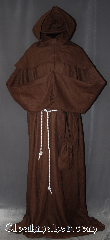 Robe:R301, Robe Style:Monks Robe with Detached cowl and pouch, Robe Color:Brown, Front/Collar:Round neck, Fiber:100% Linen, Neck:24&quot;, Sleeve:38&quot;, Chest:60&quot;, Length:66&quot;, Height:Up to 6&#039; 6&quot;. Can be shortened, Note:A light weight brown woven<br>monks robe made of a breathable linen.<br>Cuff is finished and can be folded<br>up without showing raw edges<br>.Can be hemmed to desired length.<br>Rope belt included with the option<br>of a leather belt for extra $45.<br>Machine Washable..