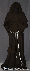 Robe:R396, Robe Style:Monks Robe with Detached cowl<br>and coin pouch, Robe Color:Brown, Front/Collar:Round neck, Fiber:Linen/Rayon, Machine Washable, Sleeve:35&quot;, Chest:Up to 54&quot;, Length:63&quot;, Height:Up to 6&#039;1&quot;, Note:This light weight pot soil brown<br> monks robe is made of Linen/Rayon<br>perfect for cool indoor events.<br>The detached hood is removable<br>for ease of use and can be<br>hemmed to desired length<br>A rope belt is included with the<br>option of a leather belt<br>for extra $45.<br>Machine wash gentle, tumble dry low..