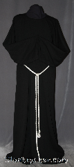 Robe:R306, Robe Style:Monks Robe with coin pouch and<br> Detached cowl, Robe Color:Black, Front/Collar:Round neck, Fiber:Wool Polyester Blend, Neck:24&quot;, Sleeve:40&quot;, Chest:Up to 60&quot;, Length:65&quot;, Height:Up to 6&#039; 5&quot;. Can be shortened, Note:This black monks robe has a<br>wonderful striped texture<br>and is perfect for cool indoor events.<br>The detached hood is optional<br>and made of a different<br>smoother fabric removable<br>for ease of use.<br>The robe can be hemmed<br>to a desired length.<br>A rope belt is included with the<br>option of a leather belt for extra $45.<br>Machine Washable on gentle,  line dry<br>Please contact us to purchase<br>just the robe or hooded cowl..