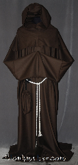 Robe:R308, Robe Style:Keyhole Monks Robe<br>with Detached cowl and coin pouch, Robe Color:Brown, Front/Collar:Key hole neck, Fiber:Lightweight 100% wool suiting, Neck:26&quot;, Sleeve:42&quot;, Chest:Up to 66&quot;, Length:65&quot;, Height:Up to 6&#039; 5&quot;, Note:This light weight brown monks<br>robe is made of 100% wool<br>is perfect for cool indoor events.<br>The detached hood is removable<br>for ease of use and can<br>be hemmed to desired length.<br>The keyhole neck allows for growth<br>and can be used as an<br>acolyte&#039;s robe as well.<br>A rope belt is included with the option<br>of a leather belt for extra $45.<br>Dry clean only..
