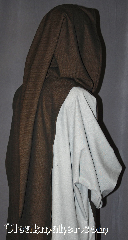 Robe:R310, Robe Style:Monk Scapula liripipe hood, Robe Color:Brown black tight chevron, Front/Collar:Round neck, Fiber:Wool, Neck:23&quot;, Sleeve:N/A, Chest:16&quot;, Length:54&quot;, Note:This liripipe hooded monks scapula<br>originated as aprons worn by medieval<br>monks, and were later incorperated<br>to official habits ceremonies.<br>Also adds an extra interest to a period garb.<br>Dry clean only<br> shown with R309 and R281..