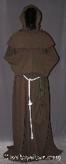 Robe:R313, Robe Style:Monks Robe with Detached cowl<br>and coin pouch, Robe Color:Cocoa Brown, Fiber:100% Light Weight Wool, Sleeve:36&quot;, Chest:Up to 65&quot;, Length:66&quot;, Height:Up to 6&#039; 6&quot;. Can be shortened, Note:A light weight cocoa<br>monks robe made of a<br>lightweight wool suiting.<br>Can be hemmed to desired length.<br>Perfect for summer<br>or indoor events.<br>Rope belt included with<br>the option of a leather belt<br>for extra $45.<br>Dry clean only.