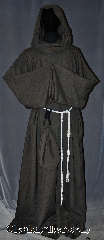 Robe:R314, Robe Style:Monks Robe with Attached cowl<br>and coin pouch, Robe Color:Brown Heather, Fiber:Wool poly blend tropical weight, Sleeve:38&quot;, Chest:Up to 72&quot;, Length:66&quot;, Height:Up to 6&#039; 6&quot;. Can be shortened, Note:This brown heathered wool blend robe<br>is a light tropical weight<br>for hot seasons.<br>The attached hood and<br>matching coin purse and<br>rope belt is included.<br>Option of a leather belt<br>for an added $44.<br>Can be worn as a complete<br>outfit with no extra pieces needed.<br>Machine washable cold gentle<br> line dry..