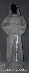 Robe:R316, Robe Style:Monks Robe with Detached cowl<br>and coin pouch, Robe Color:Dove Grey, Fiber:Linen Blend, Neck:26&quot;, Sleeve:39&quot;, Chest:Up to 60&quot;, Length:61&quot;, Height:Up to 6&#039; 1&quot;. Can be shortened, Note:This linen blend dove<br>grey robe with detached<br>hood can be hemmed<br>to desired length.<br>Perfect for summer<br>or indoor events.<br>Rope belt included<br>with the option<br>of a leather belt<br>for extra $45.<br>Dry clean only..