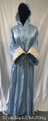 Robe:R318, Robe Style:Blue Shimmer Wizard Robe, Robe Color:Blue Shimmer, Fiber:Polyester Rayon, Sleeve:32&#039;, Chest:Up to 50&quot;, Length:54&quot;, Height:Up to 5&#039;4&quot;, Note:A magical garment<br>made of a light weight<br>shimmer polyester<br>rayon blend.<br>Ideal for summer events,<br> cermonies and<br>indoor celebrations.<br>Note the hood is<br>on the smaller side.<br>Machine wash<br> gentle line dry..