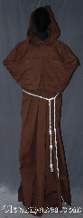 Robe:R319, Robe Style:Monks Robe with Detached<br>cowl and coin pouch, Robe Color:Brown, Fiber:Cotton Lycra, Sleeve:36&quot;, Chest:Up to 61&quot;, Length:68&quot;, Height:Up to 6&#039; 8&quot;<br>Can be shortened, Note:This cotton blend brown<br> robe with detached hood<br>can be hemmed to<br>desired length.<br>Perfect for summer<br>or indoor events.<br>Rope belt included<br>with the option of a<br>leather belt for<br>extra $45.<br>Machine washable..