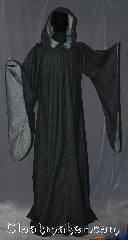 Robe:R321, Robe Style:Druid / Elven robe, Robe Color:Black, Grey Woven, Fiber:80% 20% Wool Nylon, Neck:21&quot;, Sleeve:30&quot;, Length:72&quot;, Height:Up to 7&#039; 10&quot;<br>Can be shortened, Note:A magical garment<br>made a of mid weight<br>double sided wool blend<br>with a black outside<br>and grey inside.<br>Ideal for theatrical fall<br>events or indoor<br>celebrations with<br>pointed sleeves<br>Machine wash gentle<br>line dry.<br>Clasp TBD.