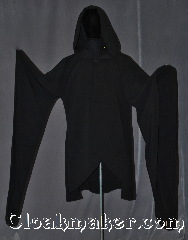 Robe:R322, Robe Style:Short Druid / Elven robe, Robe Color:Black, Fiber:Synthetic Poly Suiting, Neck:25.5&quot;, Sleeve:28&quot;, Chest:up to 68&quot;, Length:42&quot;, Note:Machine washable<br>this lightweight<br>fanciful garment<br>can be used as a<br>dramatic coat or<br>youth robe.<br>With a black enameled<br>modern rope clasp<br>and dramatic<br>pointed sleeves.<br>Perfect for a fall evening<br>or indoor event..