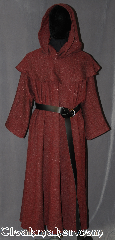 Robe:R326, Robe Style:Monks Robe with Detached<br>cowl and coin pouch, Robe Color:Red, Heathered, Fiber:100% Wool, Sleeve:30&quot;, Chest:Up to 60&quot;, Length:48&quot;, Note:This 100% wool twill robe<br>with detached hood<br>has a slightly rough<br>antique texture and<br>can be hemmed to<br>desired length.<br>Perfect for cool evening<br>or indoor events.<br>Rope belt included<br>with the option of a<br>leather belt, pictured,<br>for extra $45.<br>Machine washable..