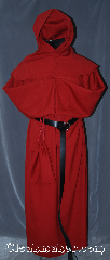 Robe:R329, Robe Style:Monks Robe with Detached cowl and pouch, Robe Color:Red, Fiber:Cotton Blend, Sleeve:38&quot;, Chest:Up to 60&quot;, Length:62&quot;, Height:Up to 6&#039; 2&quot;. Can be shortened, Note:This lightweight robe has a<br>detached cowl and a deep hood.<br>It comes with a ropes belt<br>and a pouch with the option<br>of a leather belt, pictured,<br>for extra $45.