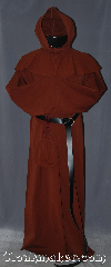 Robe:R331, Robe Style:Monks Robe (Franciscan)<br>with Detached cowl and pouch, Robe Color:Red-Brown, Fiber:Cotton Lycra, Sleeve:39&quot;, Chest:Up to 58&quot;, Length:68&quot;, Height:Up to 6&#039; 8&quot;. Can be shortened, Note:Smooth and resilient with just<br>a hint of stretch, this cotton-lycra<br>blend robe is comfortable for<br>whatever you need to do.<br>Pictured with a leather belt<br>(not included).<br>Robe comes with a rope belt<br>and a matching pouch..