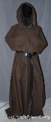 Robe:R335, Robe Style:Monks Robe with Attached cowl and pouch, Robe Color:Brown, Fiber:Cotton poly flannel, Sleeve:34&quot;, Chest:Up to 48&quot;, Length:63&quot;, Note:Soft and resilient  this cotton<br>poly flannel is comfortable for<br>whatever you need to do.<br>Pictured with a leather belt<br>(not included).<br>Robe comes with a rope belt<br>and a matching pouch..