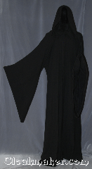 Robe:R361, Robe Style:Sith or Holocaust Style Cloak, Robe Color:Black, Fiber:100 % Wool, Neck:24&quot;, Sleeve:39&quot;, Chest:up to 60&quot;, Length:68&quot;, Note:Hooded Sith or Holocaust Style Cloak<br>with pointed drop sleeves and<br>a black vale hook and eye clasp<br>light weight <br>Made of classic feeling<br>100% wool flat woven<br>Dry clean only..