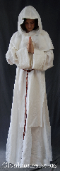 Robe:R337, Robe Style:Monk&#039;s Robe with detached hood, Robe Color:White, Fiber:Linen/Rayon<br>Machine Washable, Neck:24&quot;, Sleeve:40&quot;, Chest:Up to 58&quot;, Length:59&quot;, Note:Soft and breathable this<br>White linen is comfortable for<br>whatever you need to do.<br>Pictured with a 17&quot; wide scapula<br>(included).<br>Robe comes with a brown<br>or white rope belt..