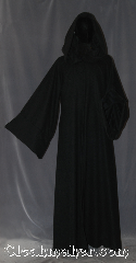 Robe:R393, Robe Style:Jedi Robe modeled after<br>Anakin Episode III, Robe Color:Black, Fiber:Wool blend Suiting, Neck:23&quot;, Sleeve:36&quot;, Chest:Up to 52&quot;, Length:66&quot;, Height:Up to 6&#039;5&quot;, Note:Light weight and easy care<br>a great piece of spring outerwear<br>Made with a breathable black<br>wool blend suiting with a hidden<br>clasp and interior ribbed satin edging.<br>Makes a great accessory for everyday wear,<br> LARP Renaissance Fair.<br>This Robe is machine washable!.