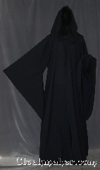 Robe:R338, Robe Style:Sith or Holocaust Style Cloak, Robe Color:Navy Blue almost Black, Fiber:Wool blend Suiting, Neck:24&quot;, Sleeve:36&quot;, Chest:Up to 54&quot;, Length:65&quot;, Height:Up to 6&#039; 4&quot;. Can be shortened, Note:Lightweight and easy care,<br>in a nearly black navy,<br>a great piece of spring outerwear.<br>Made with a breathable wool blend<br>suiting with hidden clasp, <br>makes a great accessory for everyday wear,<br> LARP or Renaissance Fair.<br>The Robe is machine washable!.