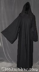 Robe:R349, Robe Style:Sith or Holocaust Style Cloak, Robe Color:Black onyx, Fiber:Wool blend Suiting<br>Machine washable, Neck:22&quot;, Sleeve:37&quot;, Chest:Up to 45&quot;, Length:64&quot;, Note:Smooth and resilient this<br>black diamond weave wool<br>blend robe is comfortable for<br>whatever you need to do.<br> Machine Washable.