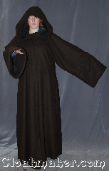Robe:R350, Robe Style:Jedi Robe<br>modeled after<br>Anakin Episode III, Robe Color:Two tone mottled dark chocolate<br>brown exterior with<br>extra dark brown interior, Fiber:Wool Blend<br>Machine washable, Neck:22.5&quot;, Sleeve:39&quot;, Chest:Up to 50&quot;, Length:64&quot;, Height:Up to 6&#039;3&quot;, Note:Warm and detailed,<br>a great piece for winter or fall.<br>Made with a mottled dark<br>chocolate brown wool blend<br>with extra dark brown interior<br>and hidden clasp,<br>makes a great accessory<br>for everyday wear,<br>LARP or Renaissance Fair.<br>The robe is machine washable.