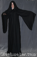 Robe:R351, Robe Style:Sith or Holocaust Style Cloak, Robe Color:Black, Fiber:Flat Woven Wool, Neck:22&quot;, Sleeve:41&quot;, Chest:up to 48&quot;, Length:76&quot;<br>Can be hemmed to height., Note:Hooded with pointed sleeves and hidden<br>hook and eye clasp<br>light weight <br>Made of flat woven wool<br>Spot or dry clean only.