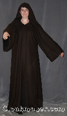 Robe:R353, Robe Style:Jedi Robe modeled after<br>Anakin Episode II, Robe Color:Two tone Mottled dark chocolate<br>brown exterior with extra dark brown interior, Fiber:Wool Blend<br>Machine washable, Neck:24&quot;, Sleeve:36&quot;, Chest:Up to 50&quot;, Length:64&quot;, Note:Warm and detailed,<br>a great piece of winter or fall.<br>Made with a mottled dark chocolate brown<br>with extra dark brown interior with hidden clasp,<br>makes a great accessory for everyday wear,<br> LARP or Renaissance Fair.<br>The robe is machine washable.