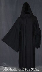 Robe:R354, Robe Style:Monks Jedi/Sith, wizards, and more, Robe Color:Navy Blue almost Black, Fiber:Poly blend wool, Neck:24&quot;, Sleeve:42&quot;, Chest:up to 60&quot;, Length:64&quot;, Note:Versatile for Monks, Jedi/Sith, wizards,<br>and more, this hooded  robe has large sleeves<br>and hidden hook and eye clasp.<br>Made of a light weight<br>textured wool poly blend.<br>Machine washable.