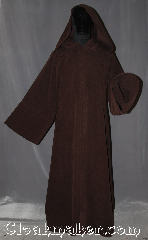 Robe:R355, Robe Style:Jedi Robe modeled after<br>Anakin Episode III, Robe Color:Mocha Brown, Fiber:100% Cotton moleskin, Neck:24&quot;, Sleeve:36&quot;, Chest:up to 44&quot;, Length:62&quot;, Note:modeled after Anakin Episode III<br>this robe is soft, luxurious, and<br>perfect for mild winters or fall.<br>Made with a snugly moleskin with hidden clasp, <br>makes a great accessory for everyday wear,<br> LARP or Renaissance Fair.<br>The robe is machine washable and can.