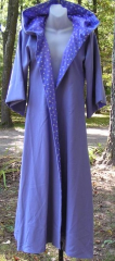 "Robe:R35, Robe Style:Wizards Robe, Robe Color:Purple, Blue, Silver, Front/Collar:Hooded with purple silver star cotton print in hood lining and open front facing, Approx. Size:Junior, Fiber:Wool, Neck Length:22"", Sleeve:26"", Chest:36"", Length:51"", Height:5'1""."