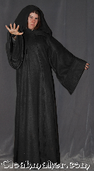 Robe:R362, Robe Style:Sith or Holocaust Style Cloak, Robe Color:Black, Fiber:Fleece, Neck:25&quot;, Sleeve:38&quot;, Chest:up to 70&quot;, Length:64&quot;, Height:Up to 6&#039;3&quot;, Note:Warm soft , a great Sith, wizard<br>or bath robe for spring or fall.<br>Made of a lightweight fleece<br>with a black vale clasp, <br>makes a great accessory for everyday wear,<br> LARP Renaissance Fair or lounging on the couch.<br>Machine washable..